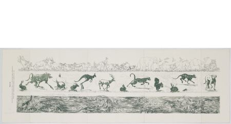 Errare humanum, 2010. Etching and aquatint, <br /> plates 9 – 11.2 – 11.5 x 108 cm (paper 40 x 120 cm).