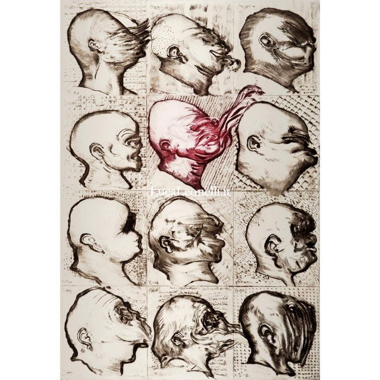 "<a hreflang=""en"" href=""https://lucaleonelli.org/en/artwork/engraving/drypoint"">Twelve heads, 2015</a>. Drypoint and burin"