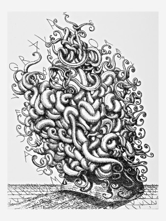 Medusa, 2008. Etching and drypoint on zinc, <br />paper 42 x 31 cm.