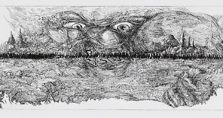 Horizon (2/5), 2012. Etching and drypoint on copper, <br /> plate 9.5 x 90 cm (paper 21 x 160 cm).