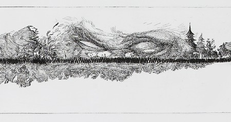 Horizon (4/5), 2012. Etching and drypoint on copper, <br /> plate 9.5 x 90 cm (paper 21 x 160 cm).
