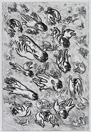 (cat.nr. 116) Flying in a swarm is a paradox, 2012. Aquatint elaborated with burnisher, etching, and drypoint on brass, 59 x 40 (paper 80 x 60).