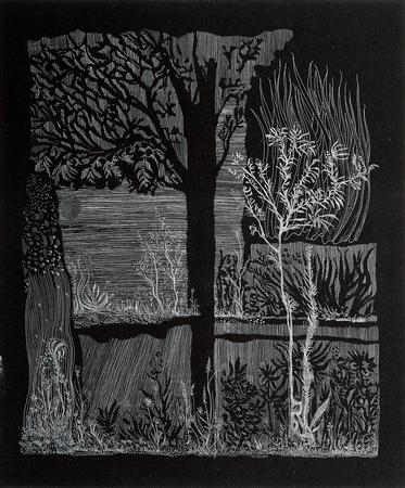 (cat.nr. 152) Proof of landscape, 2016. <br/>Etching on roller-inked zinc, plate 30 x 25 cm (paper 40 x 30 cm).