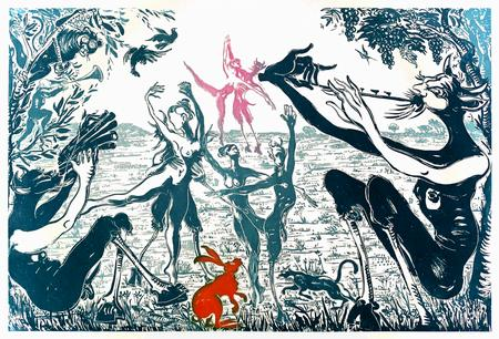 (cat.nr. 95) Fauns, 2009. Aquatint using sugar water in 5 colors, plate 106 x 72 cm (paper 125 x 90 cm).