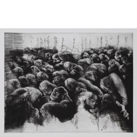 Public murmuring, 2011. Etching and mezzotint, <br />plate 32 x 41 cm (paper 50 x 70 cm).